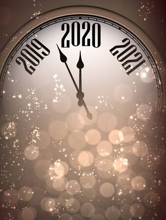 Golden shiny Happy New Year 2020 card with clock and lights. Bokeh effect. Vector background.
