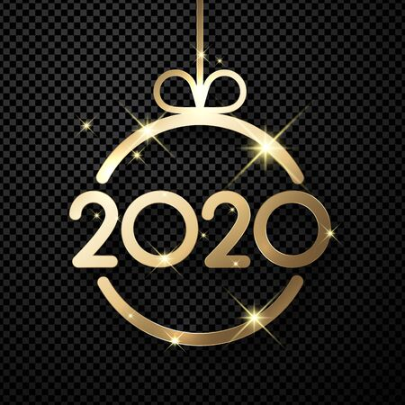 Happy New Year 2020 shiny card template with gold abstract Christmas ball. Vector transparent background.