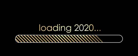 Loading 2020 New Year creative banner with golden progress indicator. Vector background.