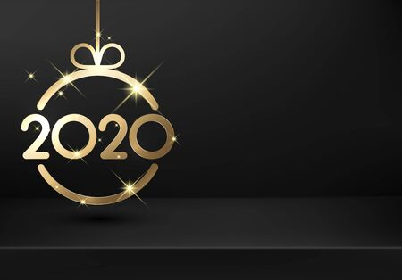 Happy New Year 2020 shiny black card template with gold abstract Christmas ball. Vector transparent background.