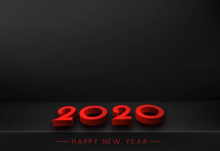 Black 2020 New Year backdrop with 3d red text. Vector background.