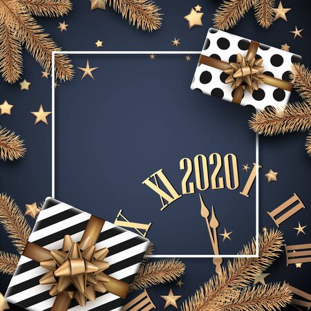 Grey 2020 New Year banner with white frame, golden clock, fir branches and gifts. Christmas greeting card or poster template. Top view illustration. Vector background. 일러스트