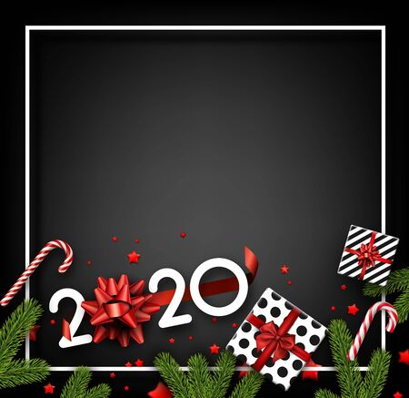 Happy New Year 2020 card with white frame, fir branches, gifts, candy and red confetti. Top view illustration. Vector background.