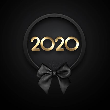 Happy New Year 2020 card with black satin bow. Vector background.