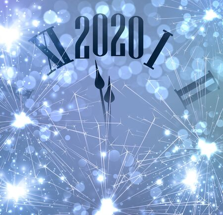 New Year 2020 card with clock and golden sparkle firework. Vector background. 일러스트