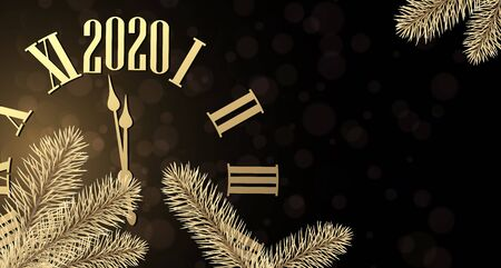 New Year 2020 shiny poster with golden  clock and fir branches. Vector background.