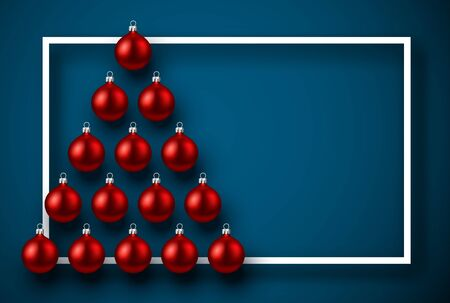 Realistic Christmas tree composed of red balls with paper frame over blue. Winter decoration - Vector