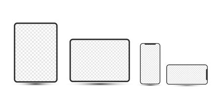 Simple mobile devices: smartphones, tablets with blank checkered transparent screens.  Vector illustration. Stock Illustratie