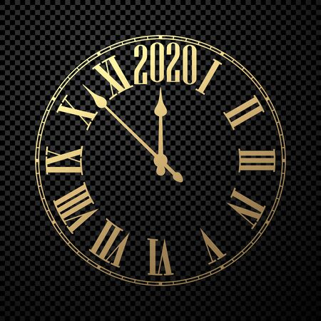 Round 2020 New Year clock on black checkered background. Flat template for Christmas greeting card design and decoration. Vector illustration.