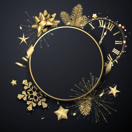 Happy New Year round greeting card template with golden shiny snowflakes, clock and fireworks. Vector Illustration.