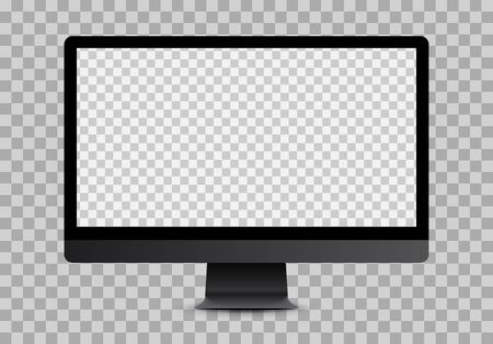 Simple black computer mockup with blank checkered transparent screen.  Vector illustration.