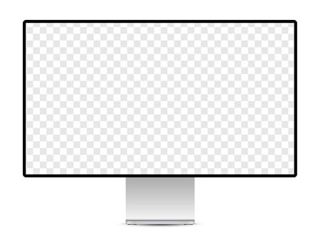 Realistic display mockup with blank checkered transparent screen.  Vector illustration.