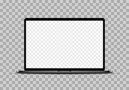 Realistic black laptop mockup with blank checkered transparent screen.  Vector illustration.