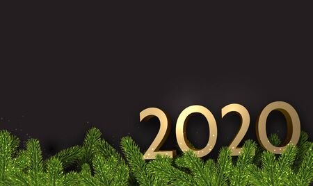 Black 2020 New Year background with shiny fir branches and gold figures. Christmas greeting card or poster template. Vector illustration.