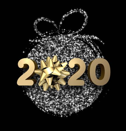 Black 2020 New Year background with beautiful golden bow and shiny silver stylized Christmas ball. Greeting card or poster template. Vector illustration.