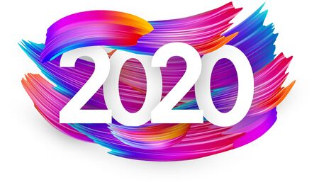White 2020 new year background with spectrum brush strokes. Colorful gradient brush design. Banner or poster template. Vector illustration.