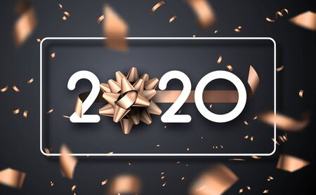 Happy New Year 2020 poster with 3d bow and bronze blurred confetti. Vector background. 일러스트
