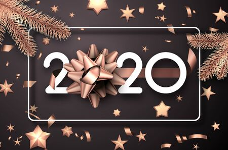 Christmas and New Year 2020 greeting card with gold bow, fir branches and blurred confetti. Vector background.  일러스트
