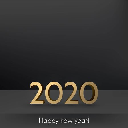 Black 2020 New Year backdrop with 3d golden text. Vector background.