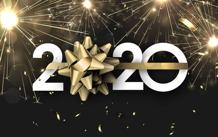 Happy New Year 2020 banner with golden sparkling firework. Vector background.