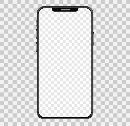 Simple smartphone mockup with blank checkered transparent screen.  Vector illustration.  일러스트