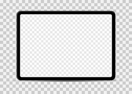 Simple tablet mockup with blank checkered transparent screen.  Vector pad illustration. 일러스트