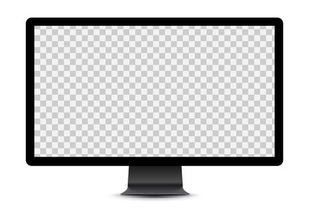 Simple black display mockup with blank checkered transparent screen.  Vector illustration.