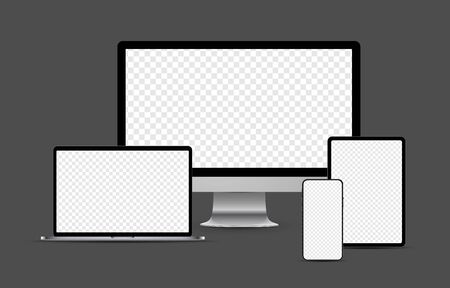 Set of metallic realistic electronic devices: smartphone, tablet, laptop, desktop computer with blank checkered transparent screens.  Vector illustration.