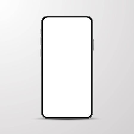 Simple smartphone mockup with blank white screen.  Vector illustration.