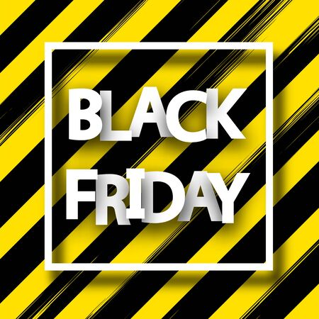 Black friday sale square background with white paper frame and text. Vector illustration.  일러스트