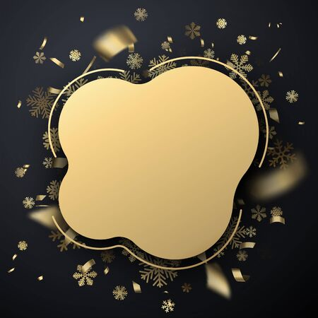 Happy New Year rounded greeting card template with golden shiny snowflakes and confetti. Vector Illustration.