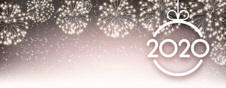 Gold 2020 New Year banner with Christmas ball and fireworks. Vector background.