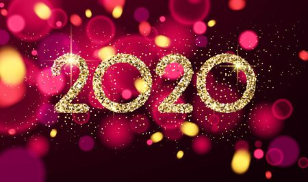 Happy New Year 2020 card with shiny colorful confetti. Vector bokeh background.