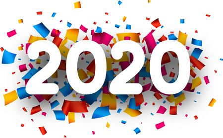 Happy New Year 2020 greeting card with colorful paper confetti. Christmas decoration - Vector
