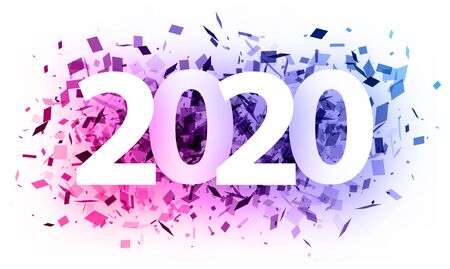 Happy New Year 2020 greeting card with purple confetti. Christmas decoration - Vector