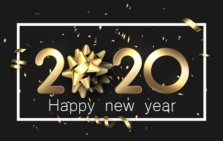 Black shiny happy New Year background with golden 3d 2020 nubmers and gift bow. Winter decoration - Vector