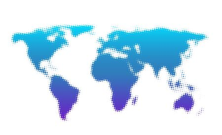 Dotted blue and purple gradient world map on white background. Vector illustration.