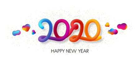 Happy 2020 New Year colorful gradient 3d lettering. Letters composed of trendy blend. Christmas decoration - Vector  Ilustracja