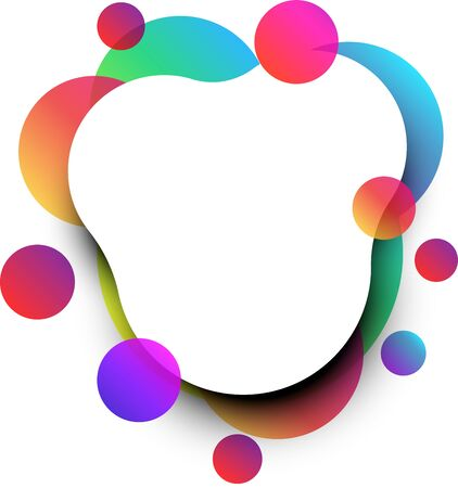 Rounded paper with trendy colour gradient bubbles on white background. Vector illustration. Ilustrace