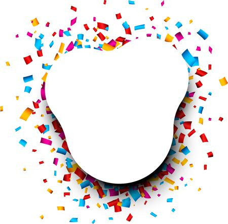 Festive white rounded background with colorful glossy confetti. Vector illustration. Vetores