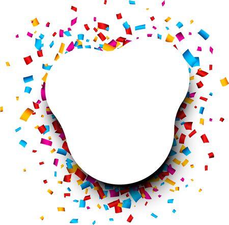 Fondo redondeado blanco festivo con confeti brillante de colores. Ilustración de vector. Ilustración de vector