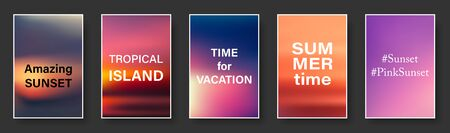 Illustration of colorful sunset and sunrise paper cards with text. Blurred modern gradient mesh background. Vector set.
