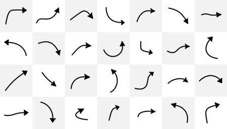 Conjunto de flechas curvas negras aisladas sobre fondo claro. Signos vectoriales. Ilustración de vector