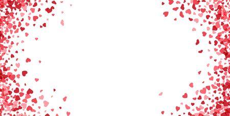 Carta di San Valentino. Coriandoli cuore che cadono su sfondo bianco per biglietti di auguri, invito a nozze. Illustrazione vettoriale. Vettoriali