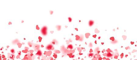Tarjeta del día de San Valentín. Confeti de corazón cayendo sobre fondo blanco para tarjetas de felicitación, invitación de boda. Ilustración de vector.