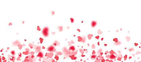 Valentines day card. Heart confetti falling over white background for greeting cards, wedding invitation. Vector illustration.