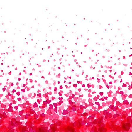 Valentijnsdag kaart. Hart confetti omvallen witte achtergrond voor wenskaarten, bruiloft uitnodiging. Vector illustratie. Vector Illustratie