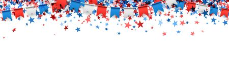 American colors small bunting flags with star shape confetti on white