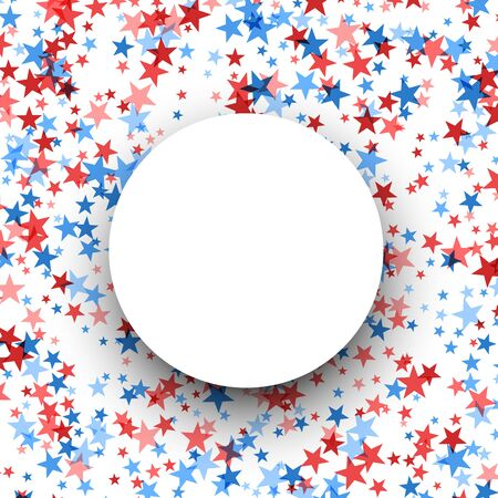 Round frame, white circle on blue and red stars