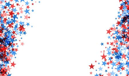 American starry patriotic frame. Red and blue stars frame on white